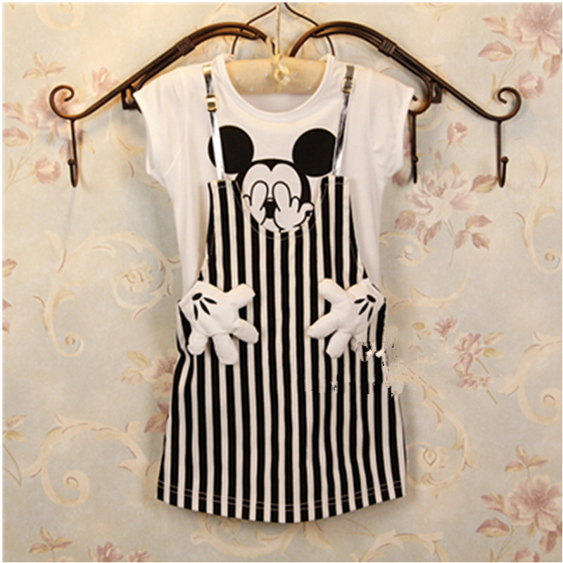 2-6T Baby Girl Dress Children Striped Dresses Cartoon Princess Party Costume Kids Clothes Summer Clothing 754 free shipping 2016 summer kids girl dress princess dresses cartoon the black cat costume children toddler clothes top sale