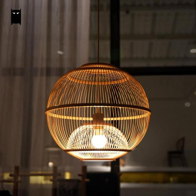 Bamboo Wicker Rattan Ball Cage Pendant Light Fixture Asian Rustic Japanese Creative Hang Lamp Fitting Foyer