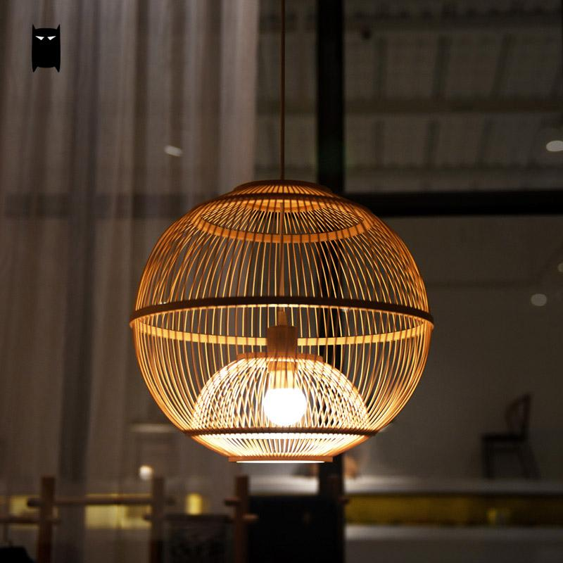 Bamboo Wicker Rattan Ball Cage Pendant Light Fixture Asian Rustic Japanese Creative Hang Lamp Fitting Foyer Living Dining Room