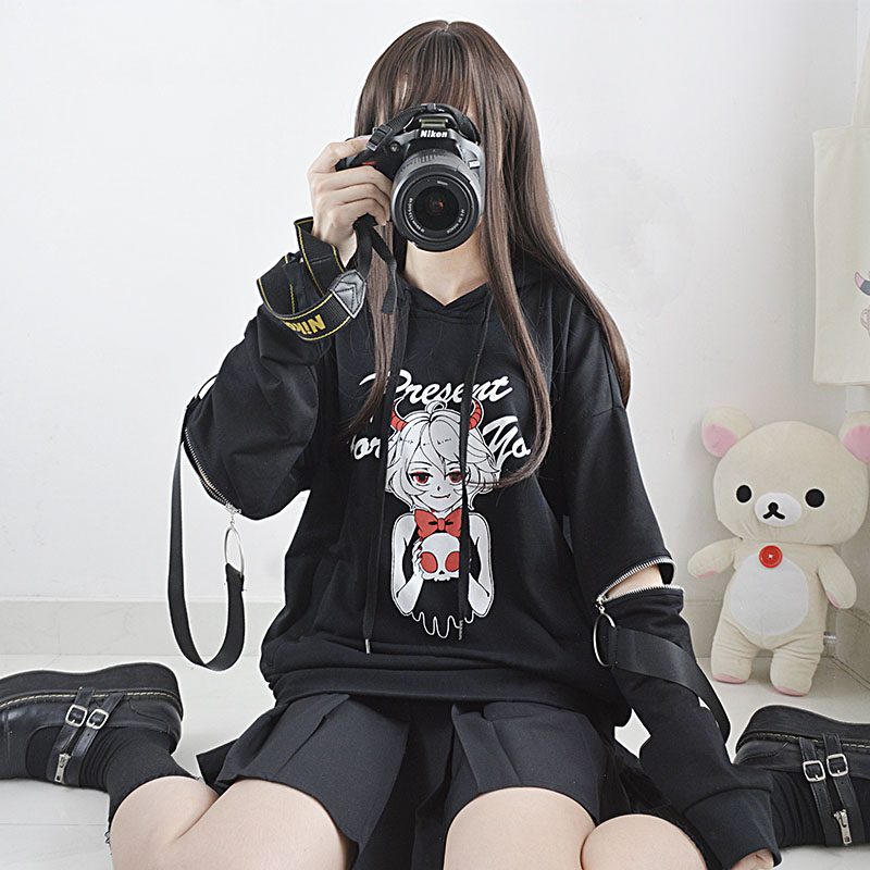 Cute Devil's Gift Pattern Cool Women's Black Hooded Sweatshirts Teen Girls Dark Punk Zipper Patchwork Sleeve Autumn Winter Coat