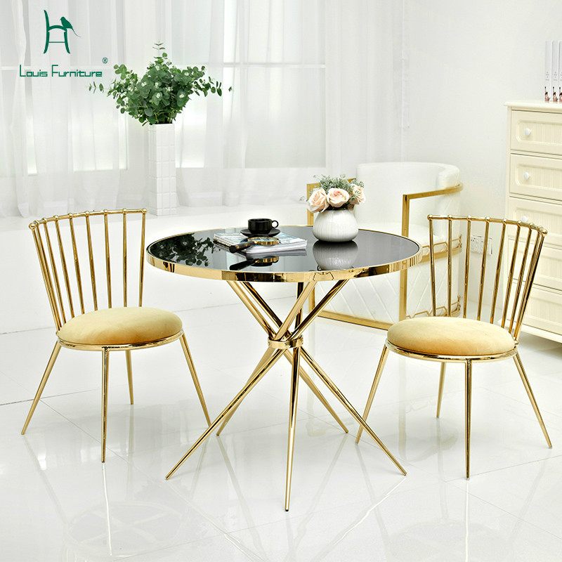 Louis Fashion Coffee Tables Furniture Gold Stainless Steel Modern