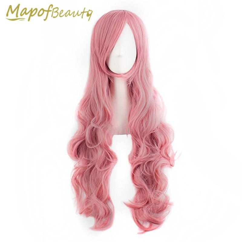 """Свободная волна 80 см 32 """"косплей 29 цветов Черный Розовый Белый Красный Синий женские вечерние синтетические парики тепла устойчивы волосы mapofbeauty"""