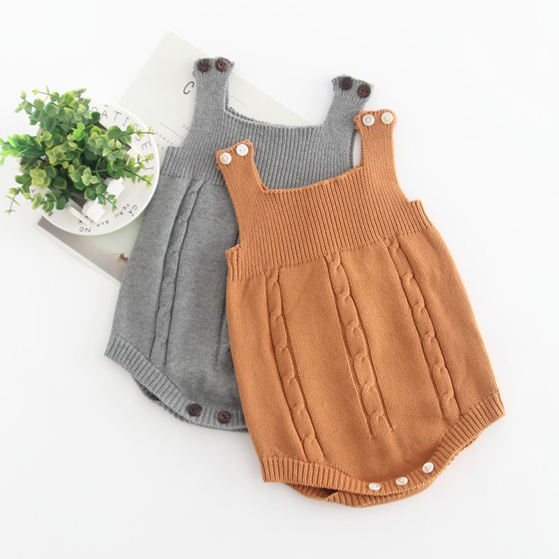 Fashion simple wool knitted overall baby romper newborn toddler jumpsuit 2019(China)