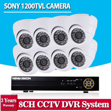 NINIVISION 8CH CCTV System 720P AHD CCTV DVR HD 8PCS SONY Cameras 1200TVL 1.0 Megapixels Enhanced IR Security Camera No HDD