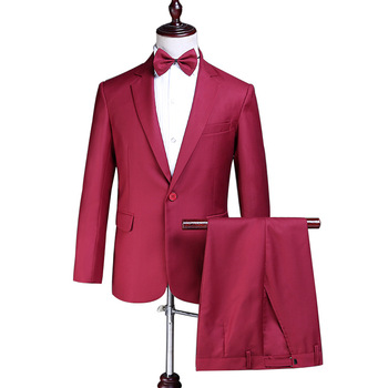 2018 Wine Red Spring Summer Two-Piece Men's Suits Evening Party Singer Slim Fit Jacket Groomsmen Suits Costumes