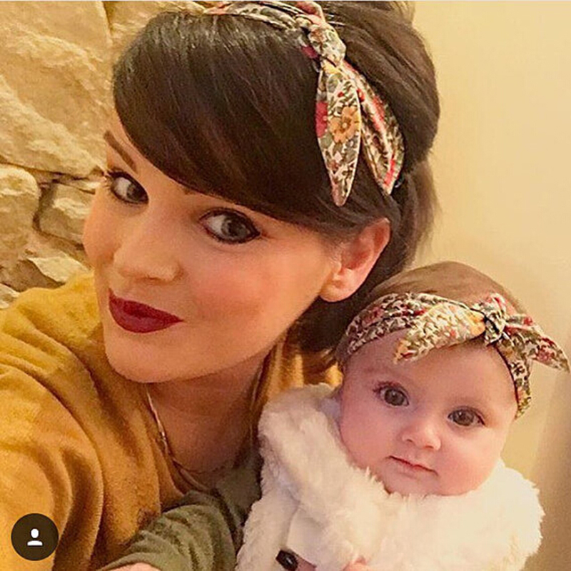 1 Set Mom and Me Headband Hair Band Bow Knot Headbands Newborn Hair Accessories Turban Kids and Mommy Cotton Headwrap Set 2 Pcs