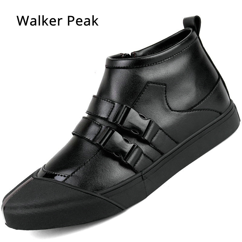 New Italy Designer Genuine Leather Men Ankle Shoes Autumn Winter Warm High-top Stamping Pattern Lace-up Man Black Punk Shoes