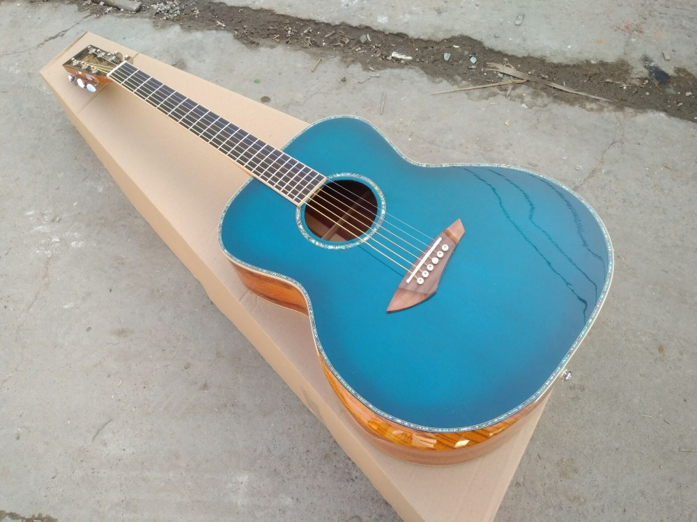 free shipping aaa quality new handcraft gloss blue burst custom guitar om body sanders wood. Black Bedroom Furniture Sets. Home Design Ideas