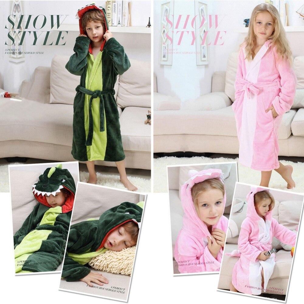 Girls Boys' Plush Hooded Bathrobe - Dinosaur Fleece Robe 6