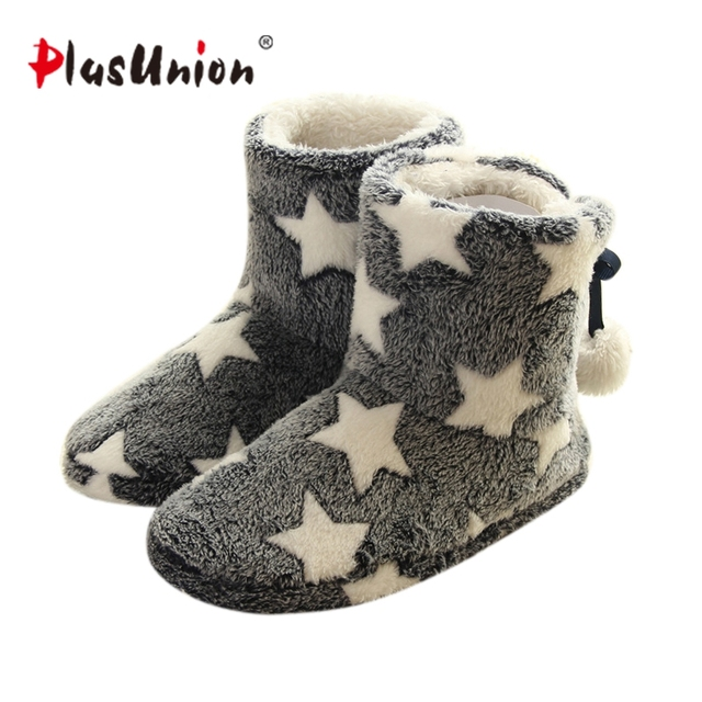 Star Flock Flat with 2 Colors Winter Indoor Slippers for Women Grey Ball Beaded Pink Adult House Shoes Soft Warm Slipper