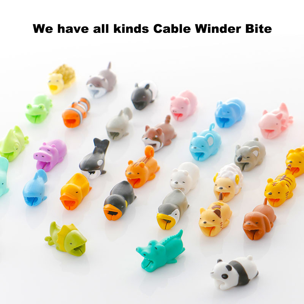 1 Pcs Cable Bites Protector For IPhone Cable Winder Phone Holder Accessory Funny USB Charger Rabbit Dog Cat Animal Doll Models
