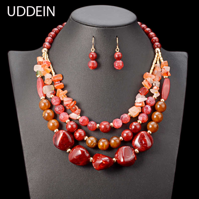 UDDEIN Beads Necklace/Earrings Set Plastic Gem Multi Layer Statement Chokers Wedding Accessories African Beads Jewelry Set