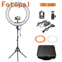 Fotopal ES240 5500K Dimmable 2 Color Filter 18 240 LED Adjustable Ring Camera Photo/Video Portrait photography Light Tripods
