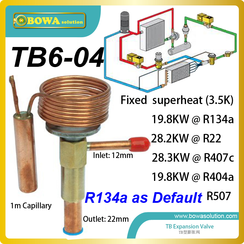 TB6-04 fixed superheat TEV is good design for high temperature AC for electrical cabinet, replace Danfoss TD/TDE expansion valve 3 5kw electronic expansion valve eev suitable for kinds of small capacity equipment replace danfoss electronic expansion valve