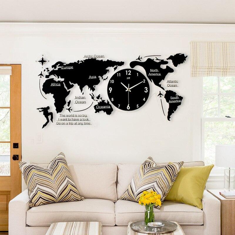 Creative Acrylic World Map Shape Clock