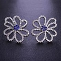 Blucome New Arrival Flower CZ Zircon Stud Earrings For Women Girls Blue Rhodium Plated Aretes Wedding Crystals Ear Accessories