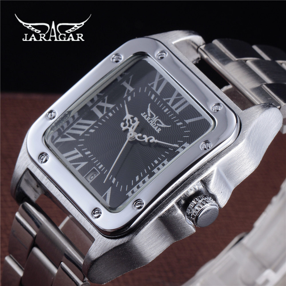 JARAGAR Automatic Mechanical Watches Man Santos 100 Series Luxury Full Steel Square Watch Clock