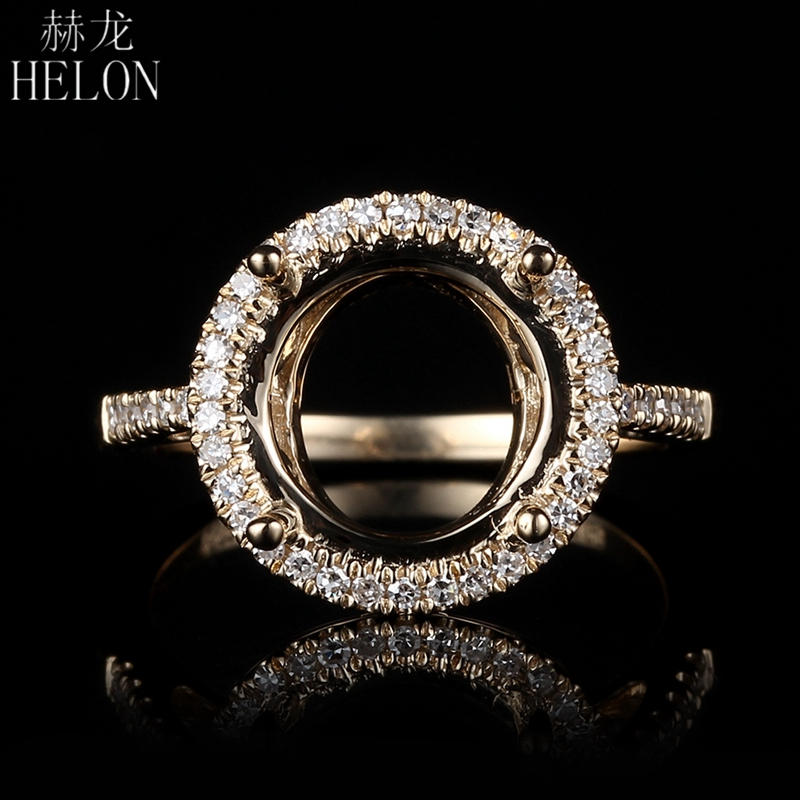 HELON New Style! Solid 14K Yellow Gold Engagement Wedding Semi Mount Real Diamonds Fine Ring Setting 8mm to 10.5 mm Round CutHELON New Style! Solid 14K Yellow Gold Engagement Wedding Semi Mount Real Diamonds Fine Ring Setting 8mm to 10.5 mm Round Cut