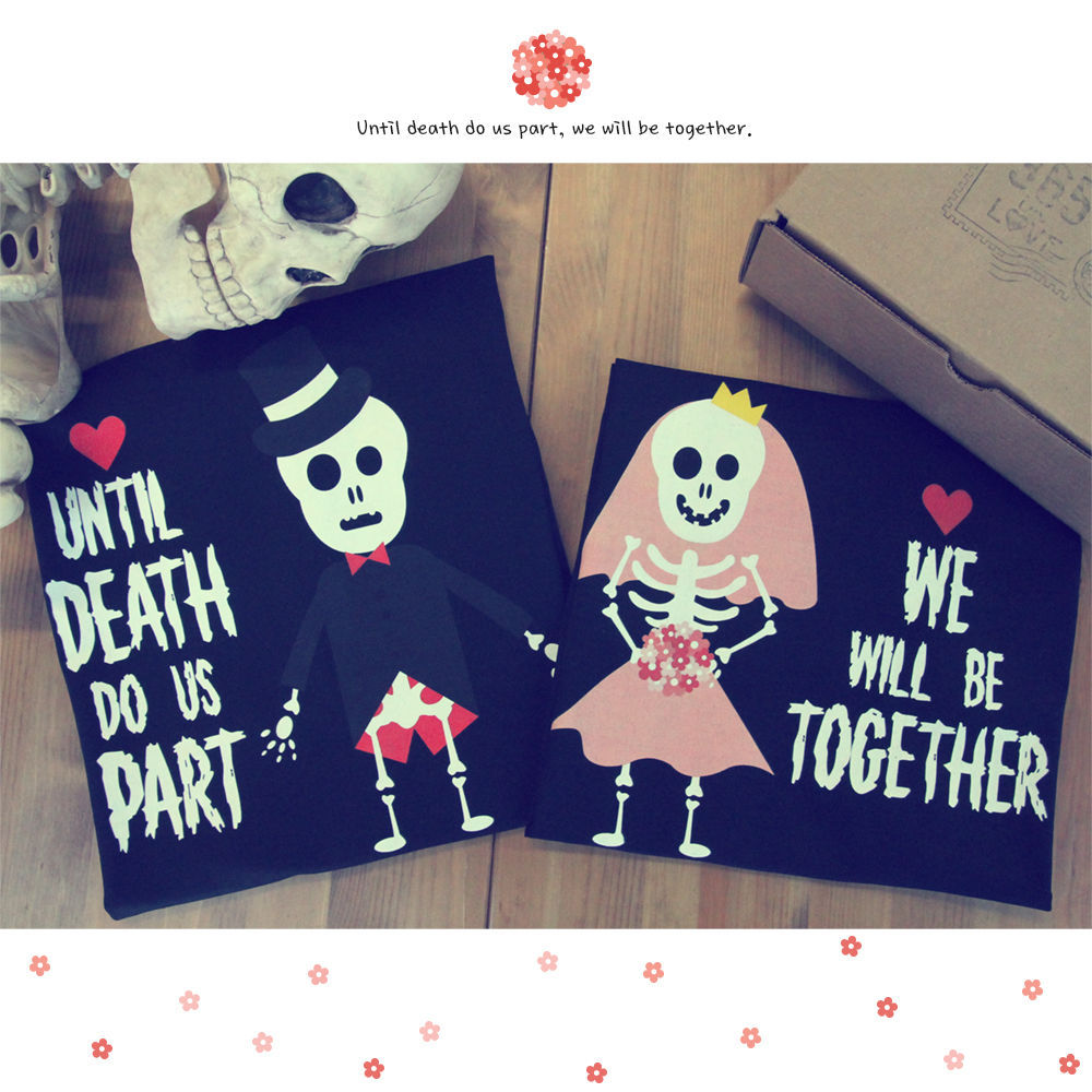 c8bb1cea Summer Men's T Shirt His and Hers Cute Couple Shirts for Halloween Skeleton  Bride and Groom Print Top Tees 100% Cotton T Shirt-in T-Shirts from Men's  ...