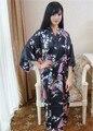 Сверхразмерные черный китайский дамы шелковый район одеяние традиционные печать кимоно ванна платье стильный цветок ночной рубашке пижамы NB042