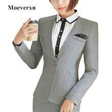 Fall winter new Korean women jackets fashion formal single button v-neck large size blazers office ladies work wear autumn coats