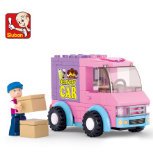 SLUBAN 102Pcs Pink Dream Supermarket delivery trucks Building Blocks DIY Bricks Construction Enlighten Toys brinquedos
