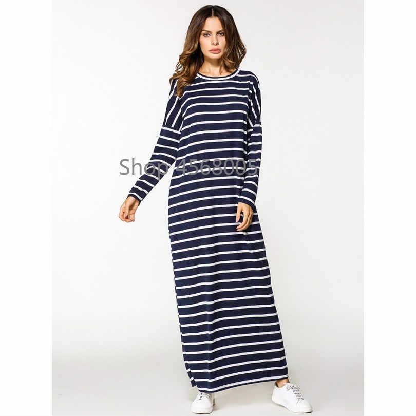 מוסלמי מקסי שמלת כותנה העבאיה פס ארוך חלוק חולצה קימונו Loose סגנון הרמדאן מזרח התיכון מרוקאי האסלאמי תפילת בגדים