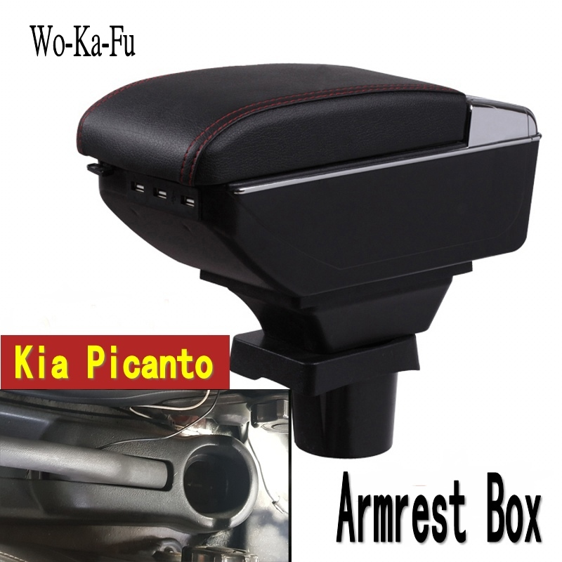 For kia picanto armrest box central Store content Storage box armrest box with cup holder ashtray USB interface