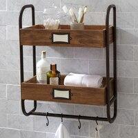 Iron Bathroom Towel Rack Hanging Kitchen Shelf Antique Double Storage Rack Wood Bathroom Towel Stand