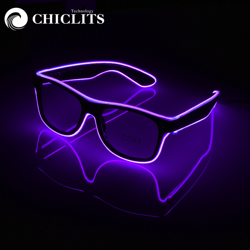 New Luminous Led Glasses El Cold Light Glasses For Dance Dj Halloween Christmas Birthday Party Decoration Gift 2*aa Battery