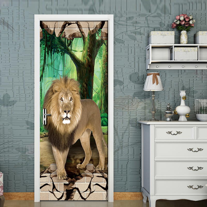 Forest Domineering Lion 3D Mural Wallpaper Living Room Bedroom Door Creative DIY Decorative PVC Self-adhesive Waterproof StickerForest Domineering Lion 3D Mural Wallpaper Living Room Bedroom Door Creative DIY Decorative PVC Self-adhesive Waterproof Sticker