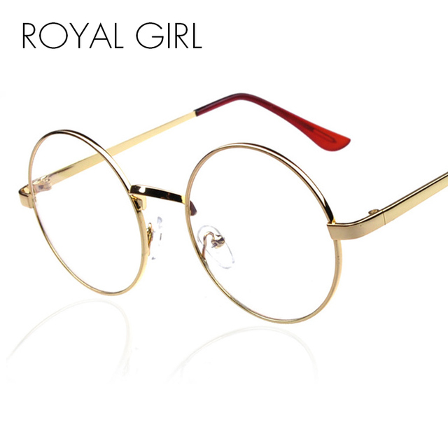 MENINA REAL Rodada Do Vintage Óculos Armações De Óculos De Metal Lente Clara Óculos ss797