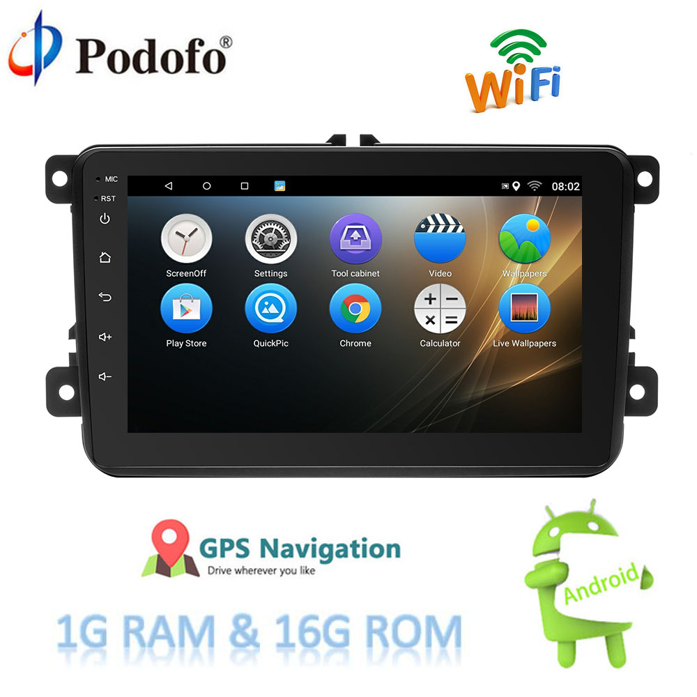 Podofo Android 7.1 Car Multimedia Player GPS Navigation WIFI Bluetooth 8'' 2 Din Car Radio Audio Mirror Link Auto Audio Radio