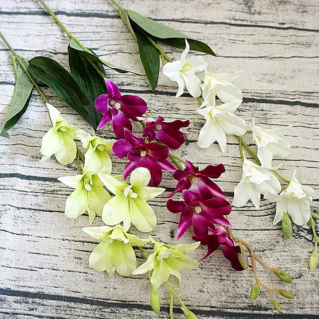 67 CM Long Single Artificial Small Orchid Leaf Flowers Branch ...