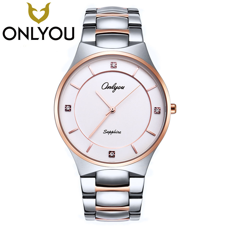 ONLYOU Luxury Top Brand Lovers Watches stainless steel Wristwatch 50M Waterproof Business Quartz Watch Fashion Sport Watch