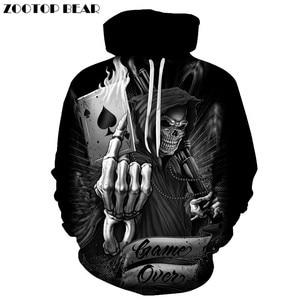 Image 1 - Sudaderas con capucha de calavera de póker para hombre, chándal con capucha 3d, suéter divertido de moda, ropa de calle de otoño, chándal de marca para hombre