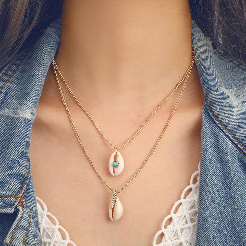 Bohemian Vintage Multilayer Natural Sea Shell Conch Pendant Necklaces Women Gold Chains Clavicle Necklace Beach Jewelry YN159