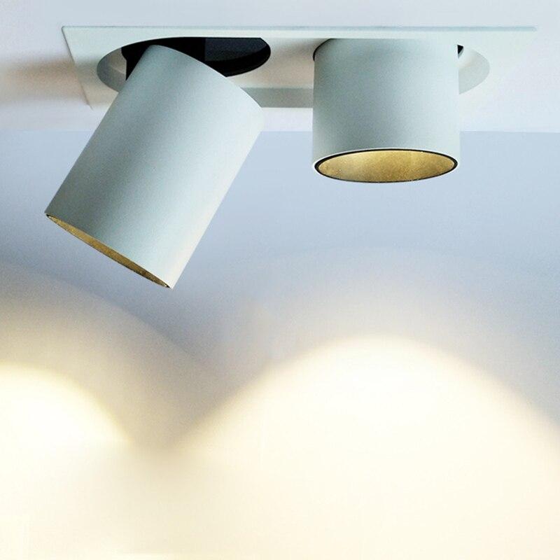 LED Spotlights Ceiling Lamp 15W/24W Embedded Adjustable Angle Spotlight Retractable Single Head Square Double Head Ceiling LightLED Spotlights Ceiling Lamp 15W/24W Embedded Adjustable Angle Spotlight Retractable Single Head Square Double Head Ceiling Light