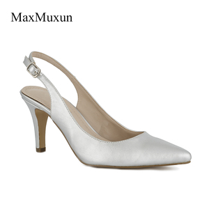 Image 2 - Maxmuxun Women Shoes High Heel Pumps Black Silver Red Pointed Toe Sexy Dress Slingback Shoes Stiletto Sandals For Wedding Party
