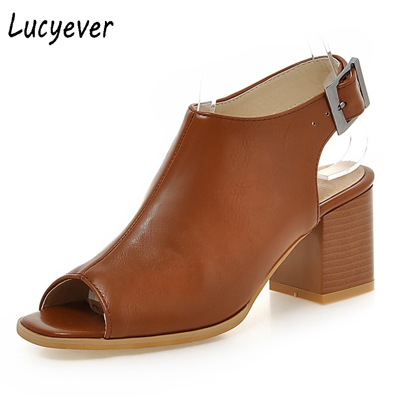 Lucyever 2018 Summer Classic Women Genuine Leather Sandals Concise Peep Toe Buckle Solid Boots Thick Heels Shoes Woman Plus Size lucyever women s gladiator sandals summer peep toe t strap chunky high heels shoes woman buckle soft leather pumps plus size