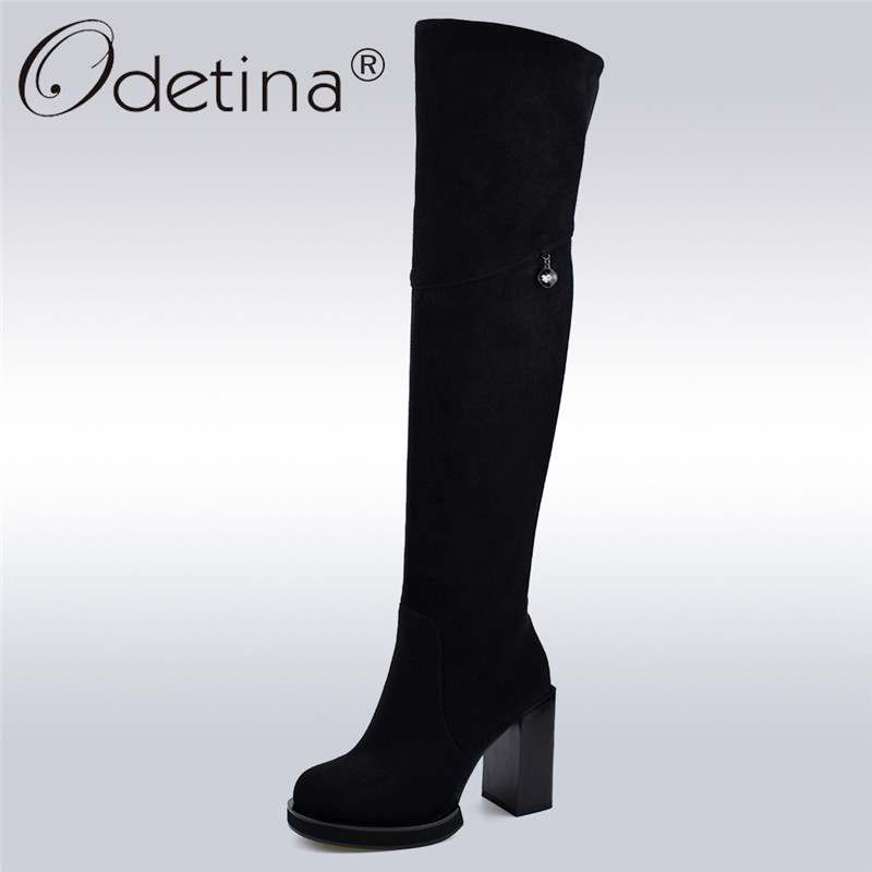 Odetina New Fashion Flock Leather Square High Heel Over The Knee Boots Women Winter Warm Thigh High Boots Platform Side Zipper women platform chunky high heel over the knee boots side zipper winter warm thigh boots fashion woman shoes white black