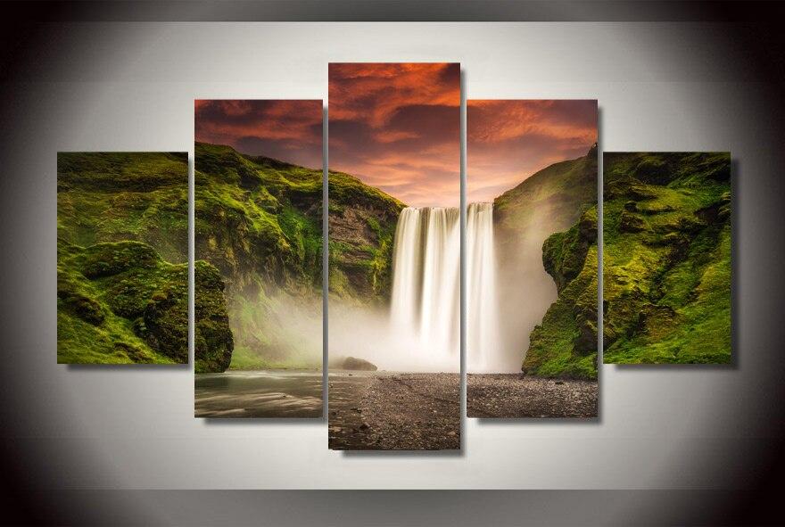 sin marco grande hd poster natural cascada paisaje lienzo pintura de pared cuadros para la sala