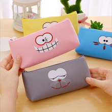 1pcs kawaii facial expression Korean Pencil Box 4colors Stationery Store School supplies Gifts for children free delivery
