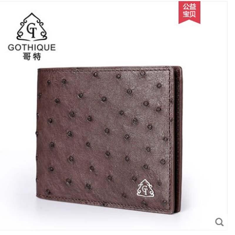 Gete 2019 nouveau portefeuille en cuir d'autruche importé pour hommes. Portefeuille horizontal en cuir pour hommes