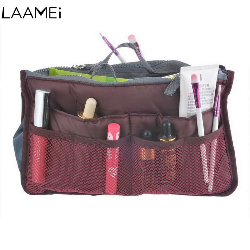 Laamei Organizer Insert Bag MakeUp Bag Women Bags Organizer Cosmetic Cases Multi-functional Cosmetic Storage Bags Portable Bag цена 2017