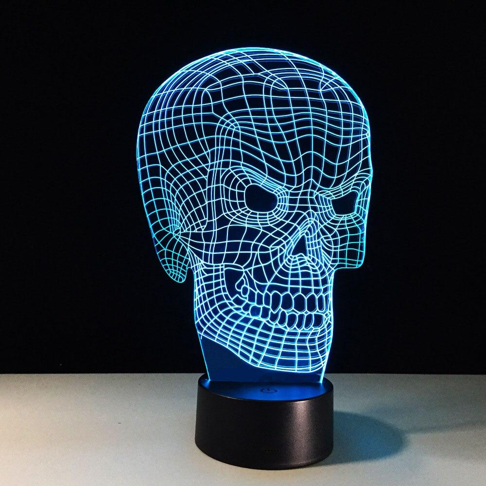 Cool Desk Lights 3d objet light acrylic plates nightlight cool skull desk lamp