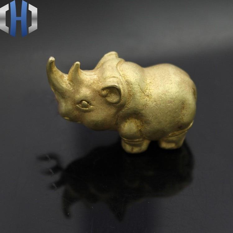 Brass Solid Copper Rhinoceros Small Ornaments Copper Ornaments Animal