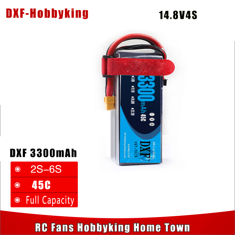 все цены на 2017 DXF Lipo Battery 4S 14.8V 3300MAH 45C MAX 60C T/XT60 LiPo RC Battery For Rc Helicopter Car Boat drone truck quadcopter онлайн