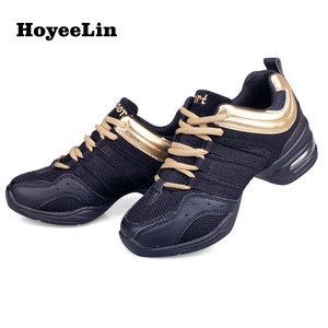 Image 2 - HoYeeLin Mesh caz ayakkabı kadın bayanlar Modern yumuşak taban dans Sneakers nefes hafif dans spor ayakkabı