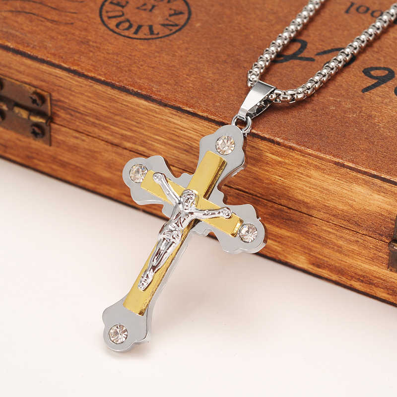 6f52473d23 Two Tone Silver Gold Color Jewelry Antique Cross Crucifix Jesus Cross  Pendant Necklaces men boys jewelry